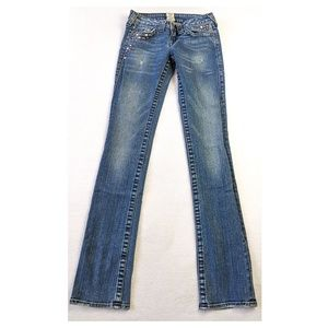 TRUE RELIGION Studded Skinny Bootcut Jeans 25
